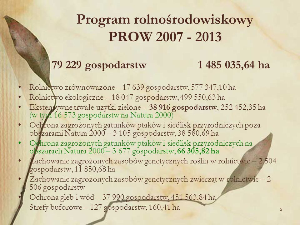 Program rolnośrodowiskowy PROW 2007 - 2013