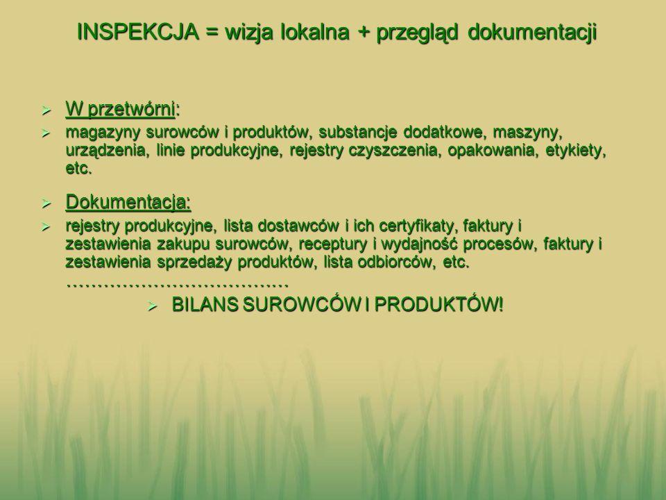 INSPEKCJA = wizja lokalna + przegląd dokumentacji