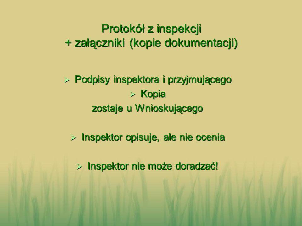 Protokół z inspekcji + załączniki (kopie dokumentacji)