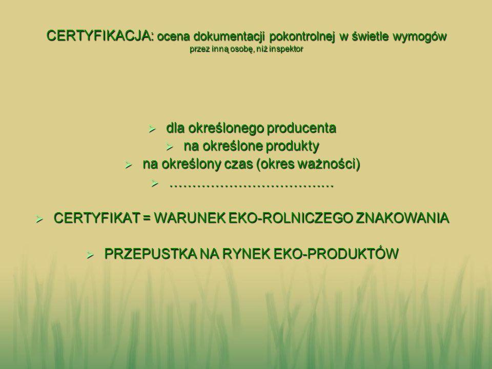 dla określonego producenta na określone produkty