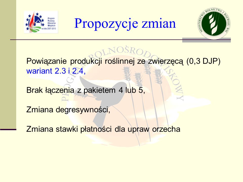 Propozycje zmian Powiązanie produkcji roślinnej ze zwierzęcą (0,3 DJP)
