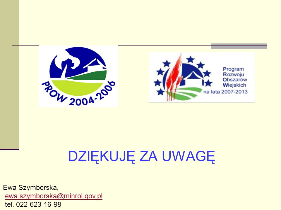 DZIĘKUJĘ ZA UWAGĘ Ewa Szymborska, ewa.szymborska@minrol.gov.pl