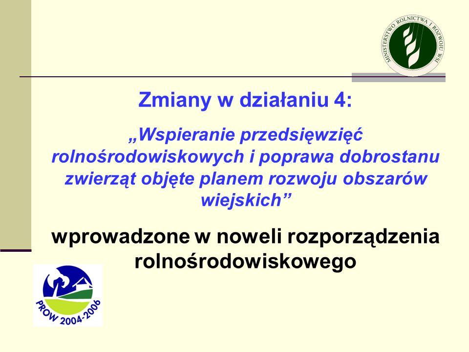 wprowadzone w noweli rozporządzenia rolnośrodowiskowego