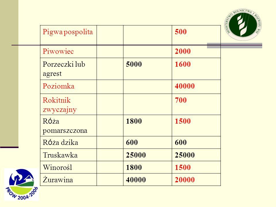 Pigwa pospolita 500. Piwowiec. 2000. Porzeczki lub agrest. 5000. 1600. Poziomka. 40000. Rokitnik zwyczajny.