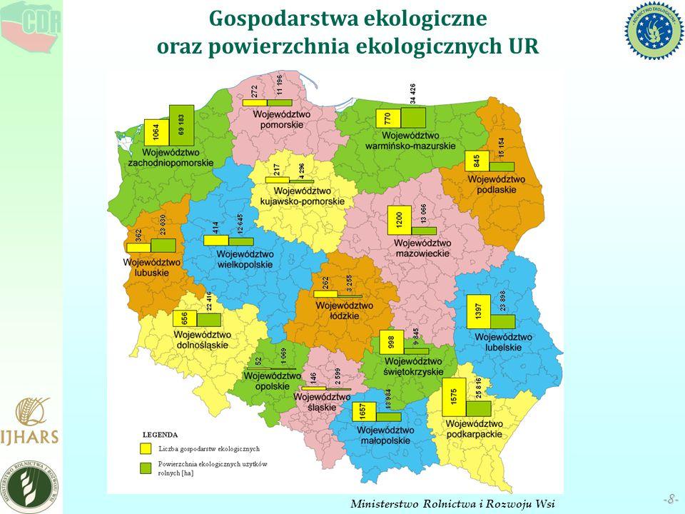 Gospodarstwa ekologiczne oraz powierzchnia ekologicznych UR