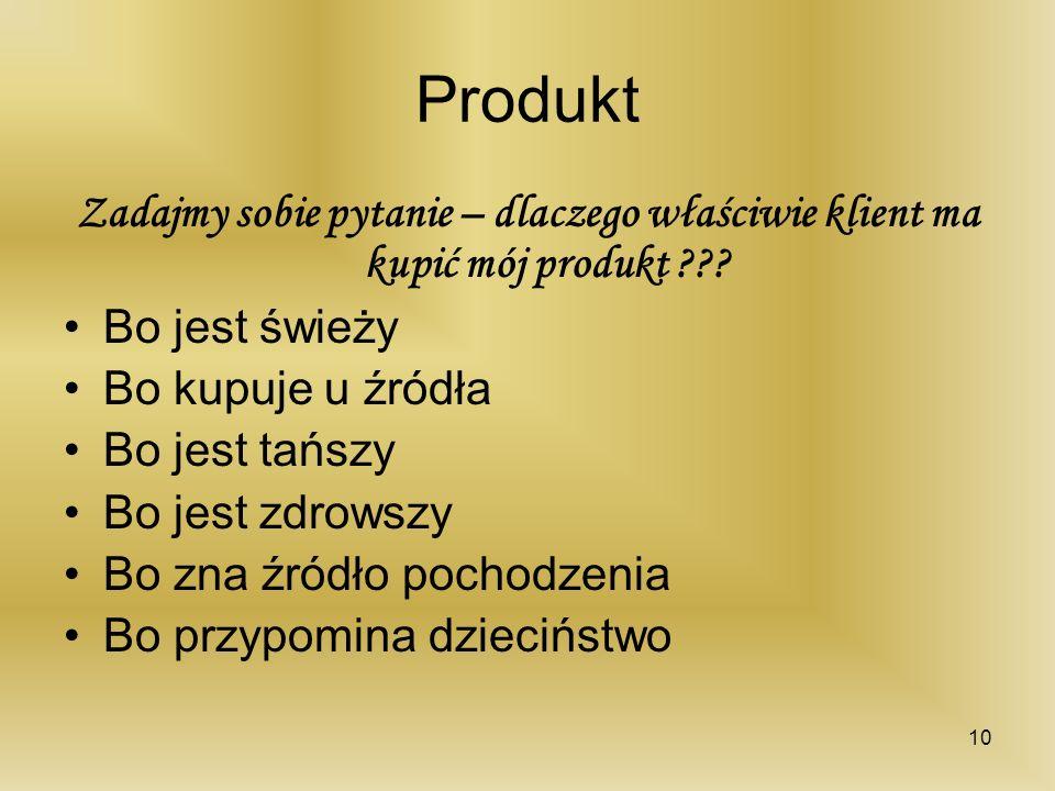 Produkt Zadajmy sobie pytanie – dlaczego właściwie klient ma kupić mój produkt Bo jest świeży.