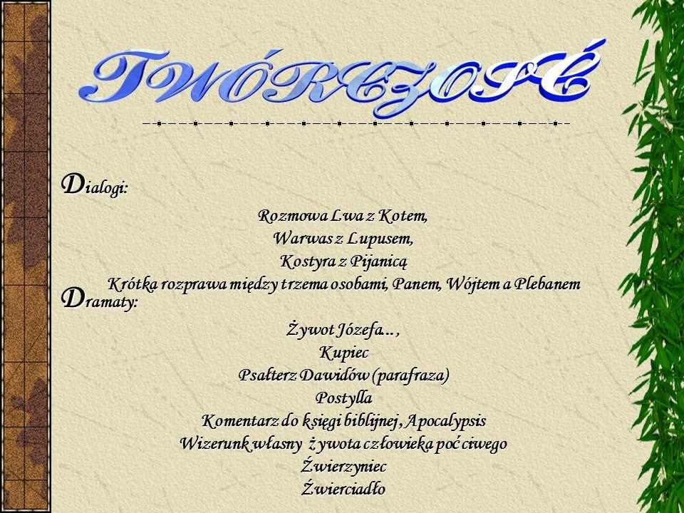 Dialogi: Dramaty: Rozmowa Lwa z Kotem, Warwas z Lupusem,