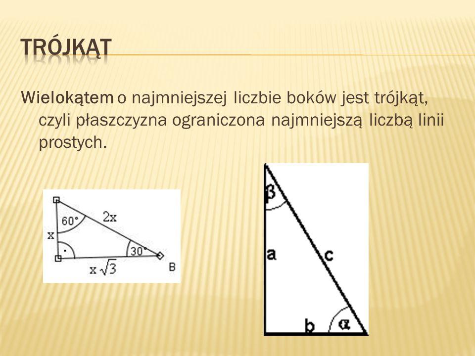 Trójkąt Wielokątem o najmniejszej liczbie boków jest trójkąt, czyli płaszczyzna ograniczona najmniejszą liczbą linii prostych.