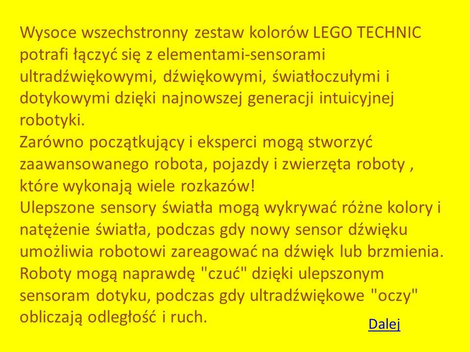 Wysoce wszechstronny zestaw kolorów LEGO TECHNIC potrafi łączyć się z elementami-sensorami ultradźwiękowymi, dźwiękowymi, światłoczułymi i dotykowymi dzięki najnowszej generacji intuicyjnej robotyki. Zarówno początkujący i eksperci mogą stworzyć zaawansowanego robota, pojazdy i zwierzęta roboty , które wykonają wiele rozkazów!