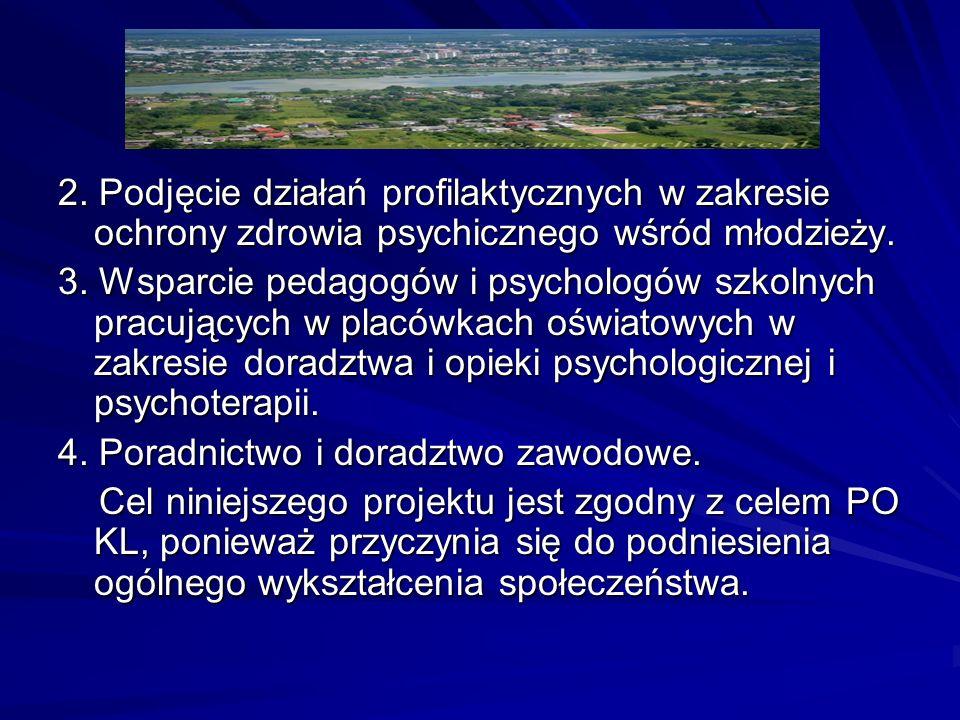 2. Podjęcie działań profilaktycznych w zakresie ochrony zdrowia psychicznego wśród młodzieży.