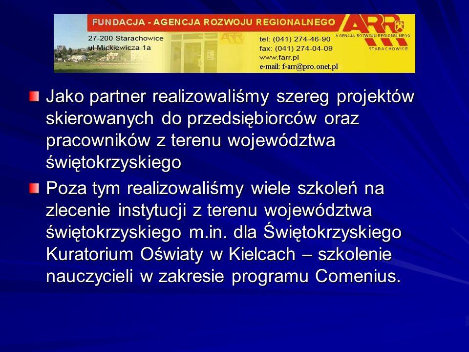 Jako partner realizowaliśmy szereg projektów skierowanych do przedsiębiorców oraz pracowników z terenu województwa świętokrzyskiego
