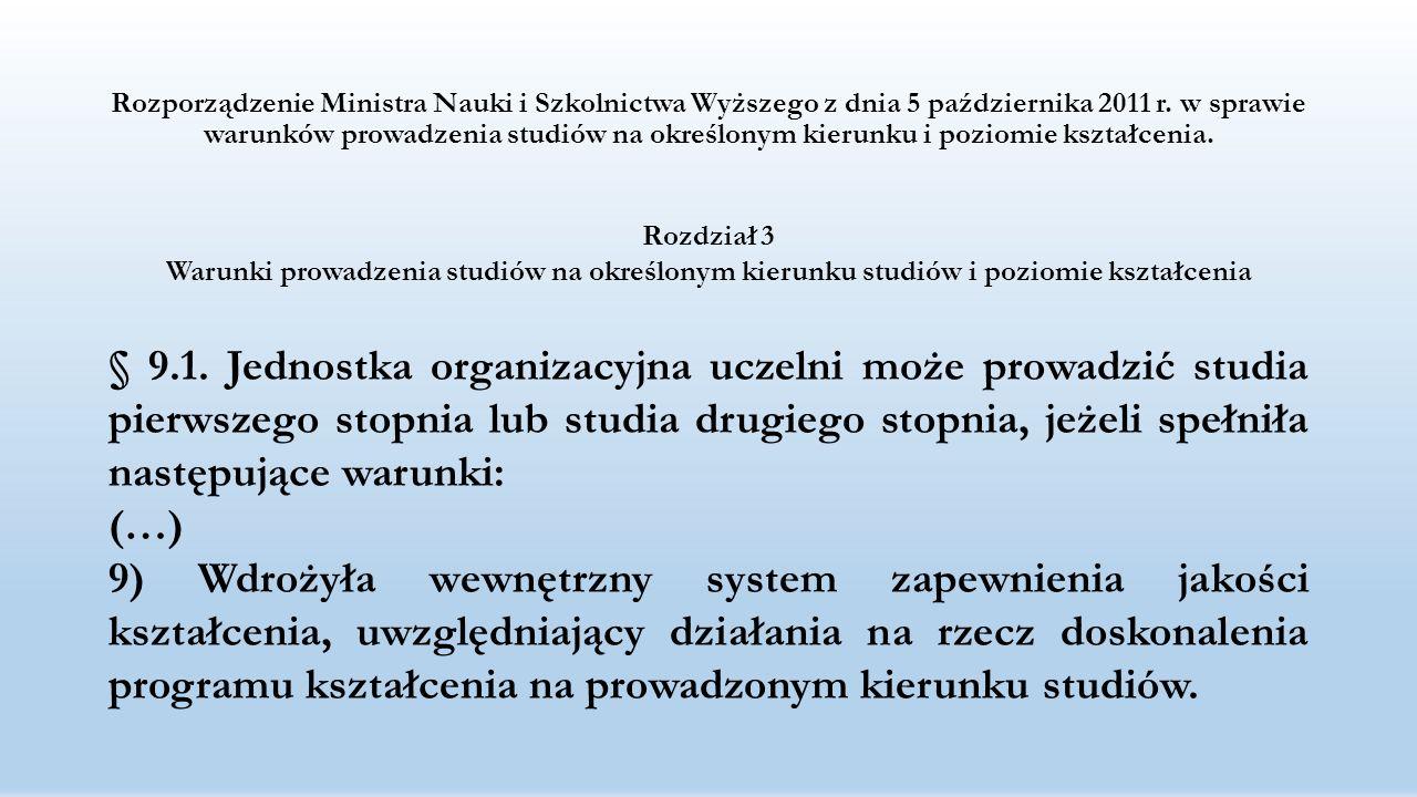 Rozporządzenie Ministra Nauki i Szkolnictwa Wyższego z dnia 5 października 2011 r. w sprawie warunków prowadzenia studiów na określonym kierunku i poziomie kształcenia.