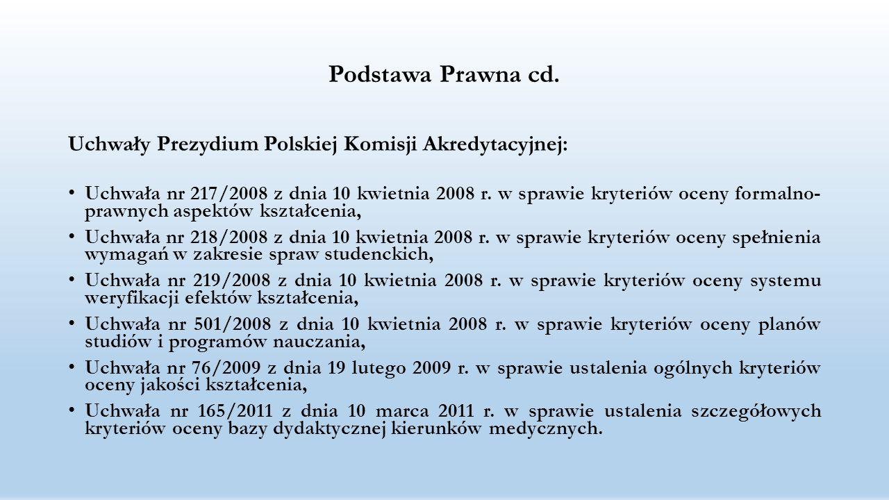 Podstawa Prawna cd. Uchwały Prezydium Polskiej Komisji Akredytacyjnej:
