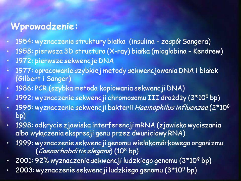 Wprowadzenie: 1954: wyznaczenie struktury białka (insulina - zespół Sangera) 1958: pierwsza 3D structura (X-ray) białka (mioglobina - Kendrew)