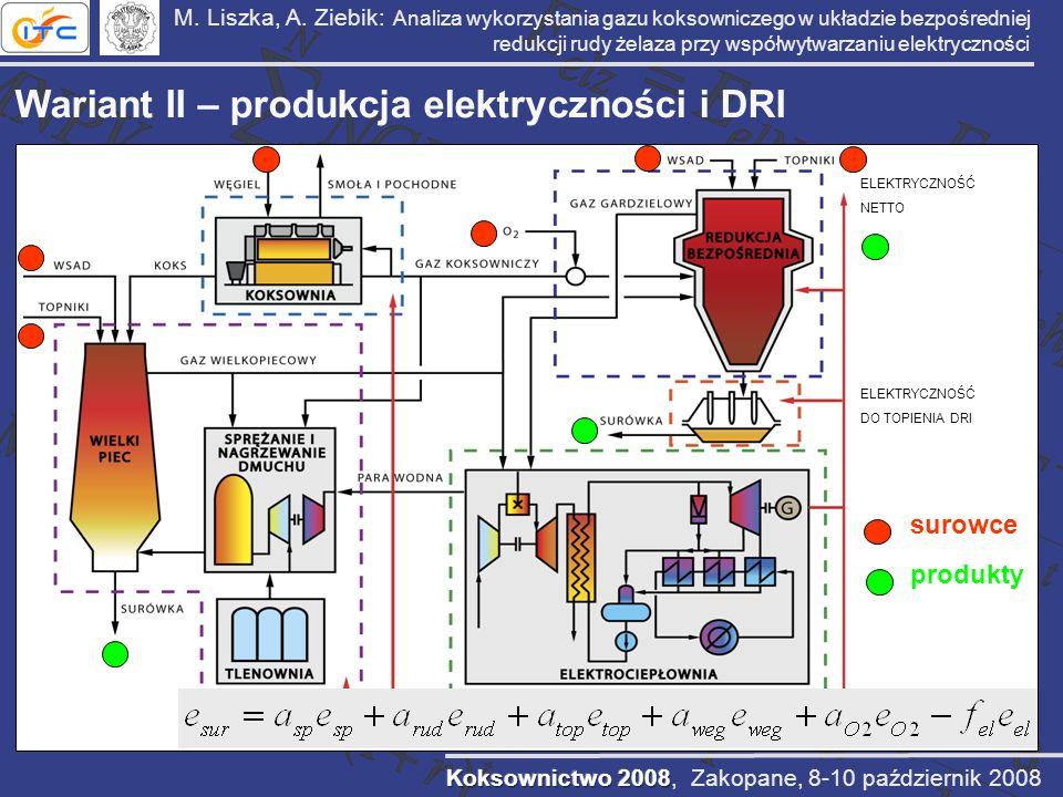Wariant II – produkcja elektryczności i DRI