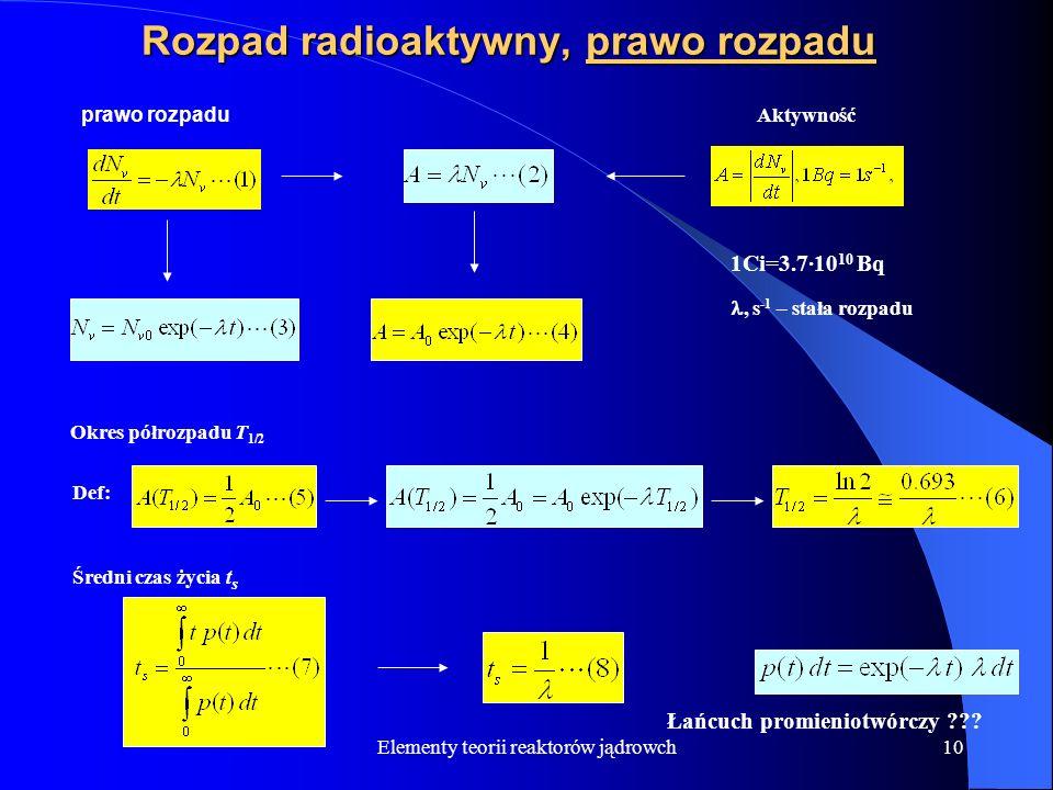 Rozpad radioaktywny, prawo rozpadu