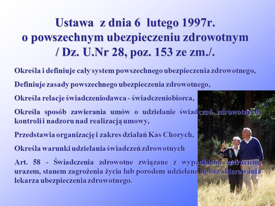 Ustawa z dnia 6 lutego 1997r. o powszechnym ubezpieczeniu zdrowotnym / Dz. U.Nr 28, poz. 153 ze zm./.