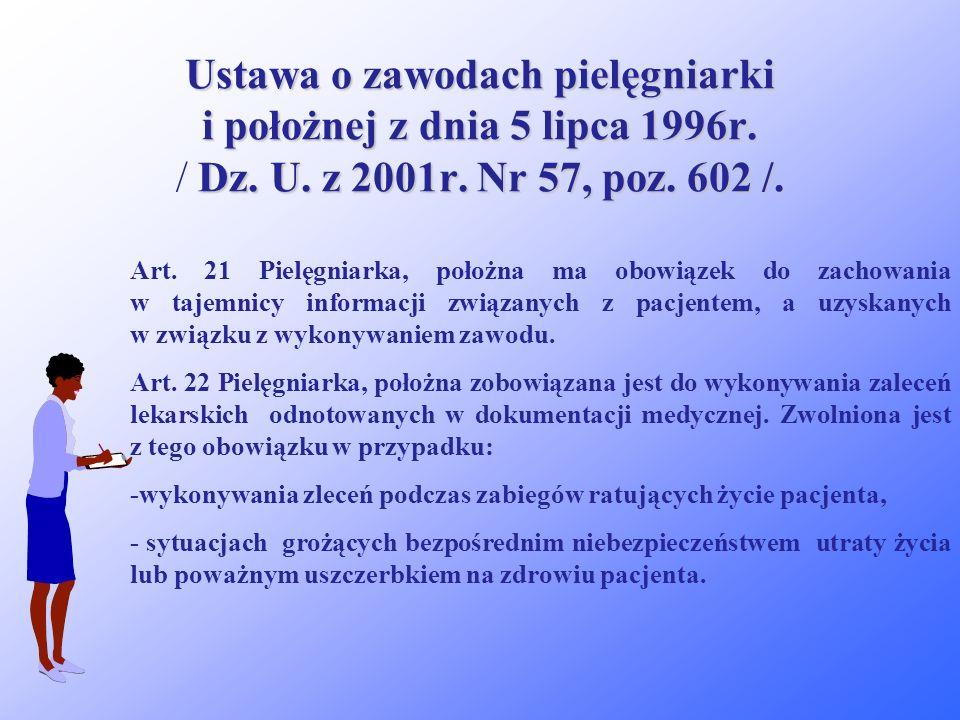 Ustawa o zawodach pielęgniarki i położnej z dnia 5 lipca 1996r. / Dz. U. z 2001r. Nr 57, poz. 602 /.