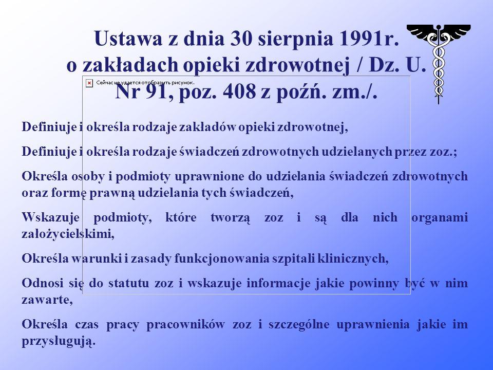 Ustawa z dnia 30 sierpnia 1991r. o zakładach opieki zdrowotnej / Dz. U