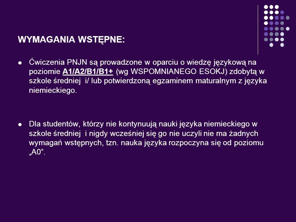 WYMAGANIA WSTĘPNE: