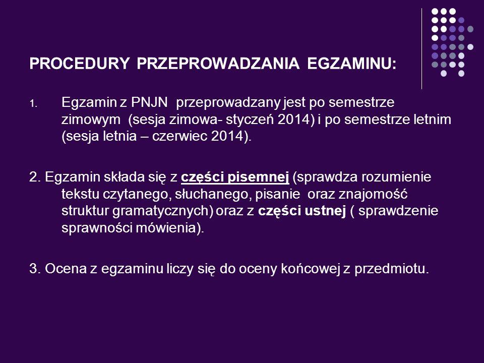 PROCEDURY PRZEPROWADZANIA EGZAMINU:
