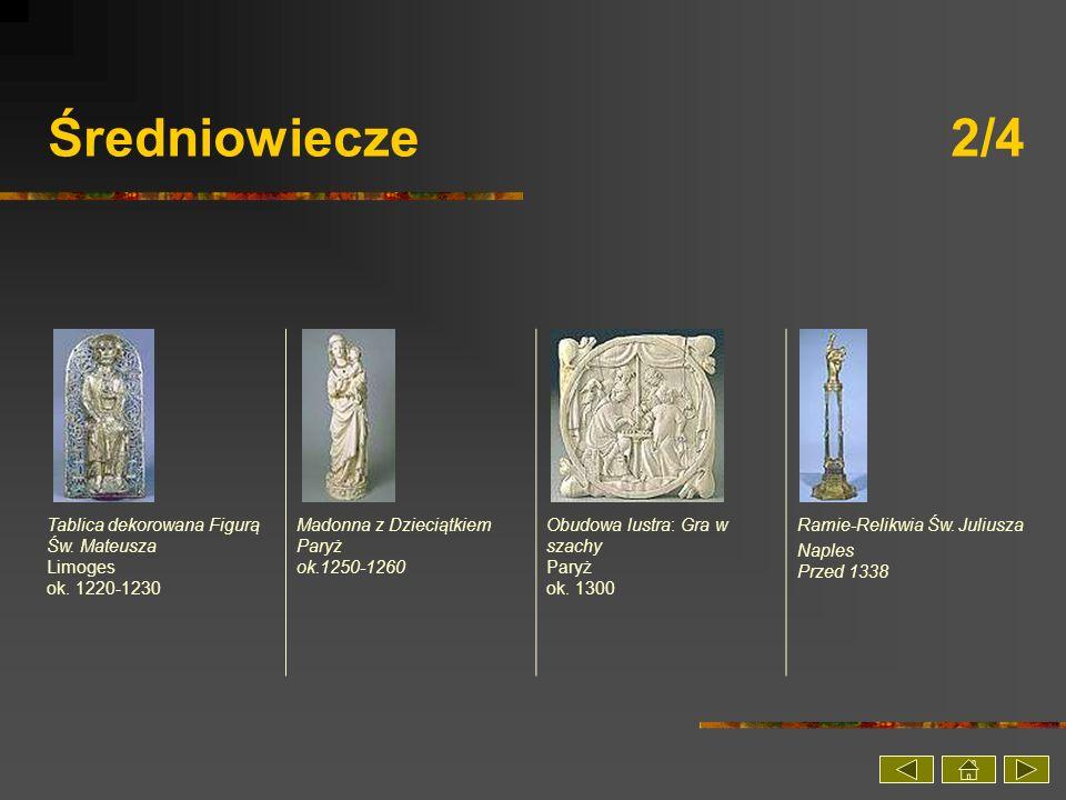 Średniowiecze 2/4 Tablica dekorowana Figurą Św. Mateusza Limoges ok. 1220-1230.
