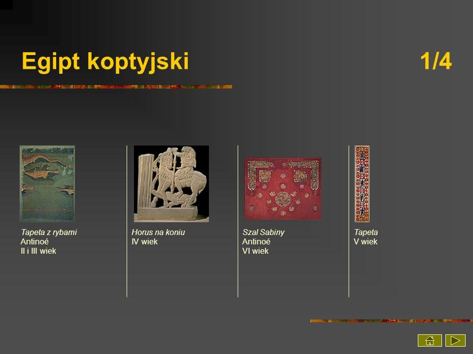 Egipt koptyjski 1/4 Tapeta z rybami Antinoé II i III wiek