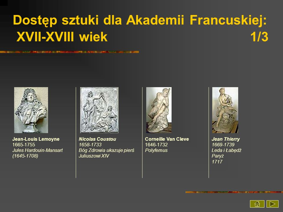 Dostęp sztuki dla Akademii Francuskiej: XVII-XVIII wiek 1/3