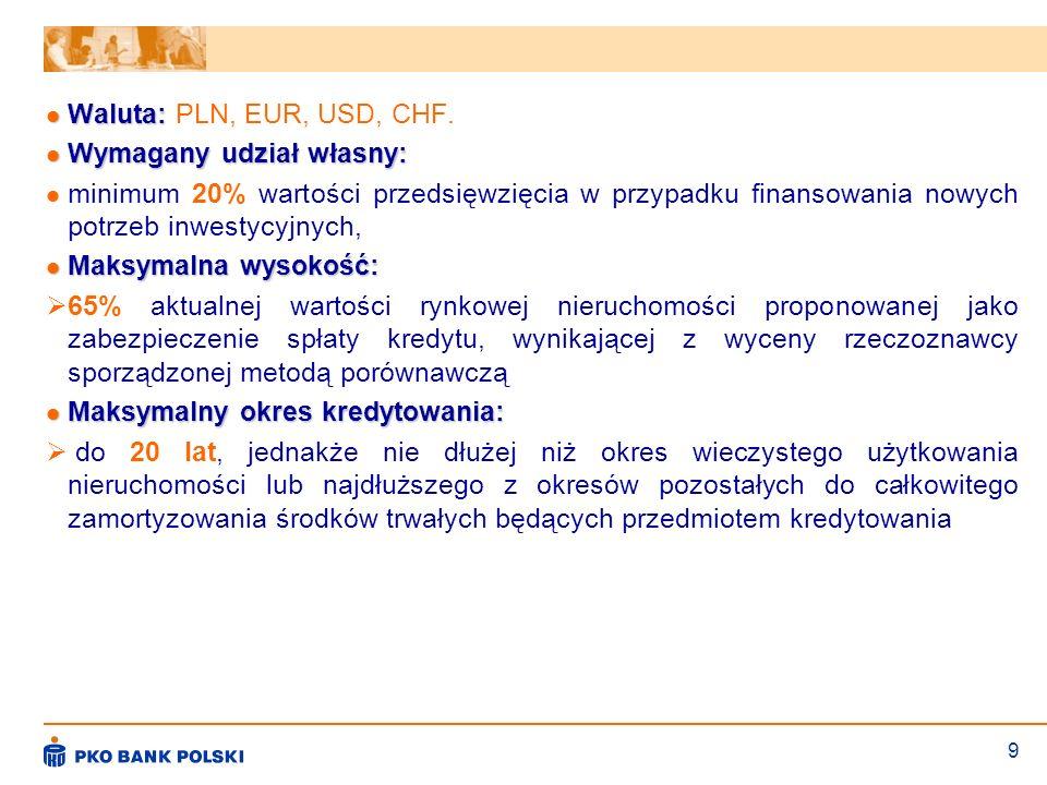 Waluta: PLN, EUR, USD, CHF.Wymagany udział własny: minimum 20% wartości przedsięwzięcia w przypadku finansowania nowych potrzeb inwestycyjnych,