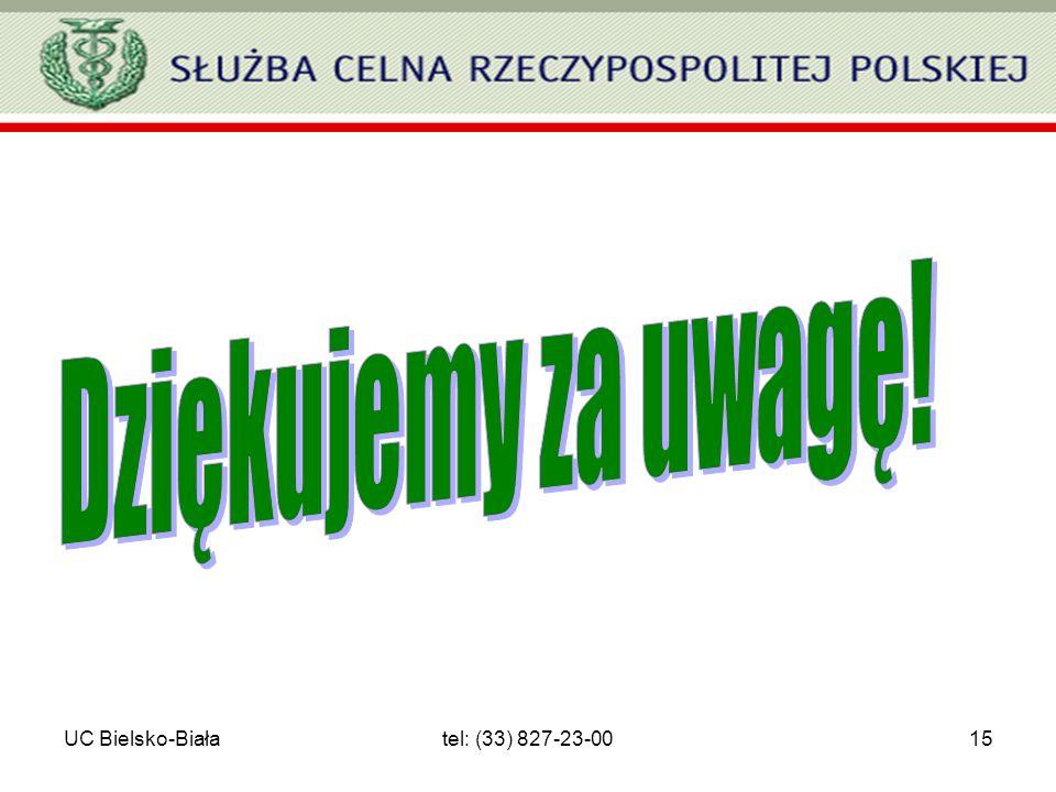 Dziękujemy za uwagę! UC Bielsko-Biała tel: (33) 827-23-00