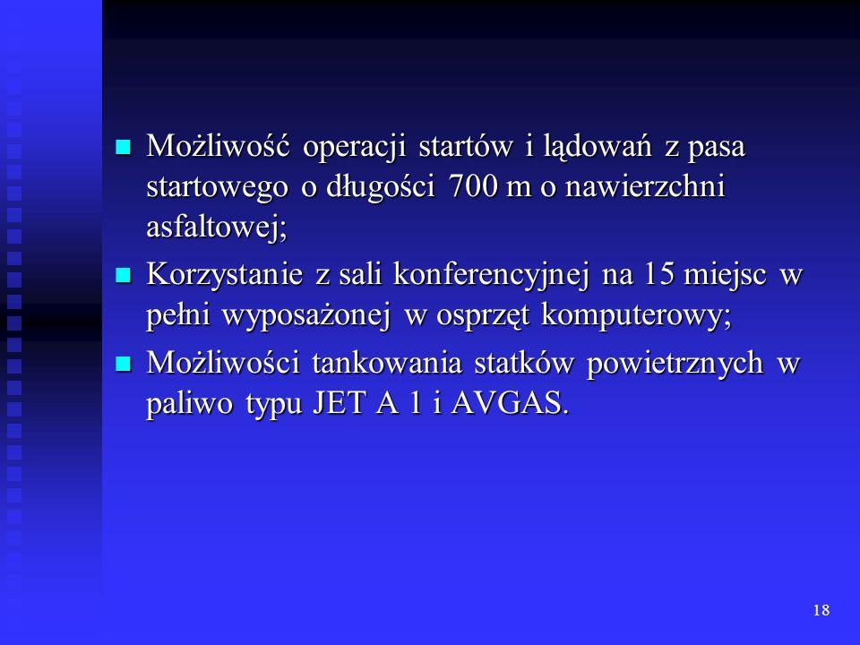 Możliwość operacji startów i lądowań z pasa startowego o długości 700 m o nawierzchni asfaltowej;