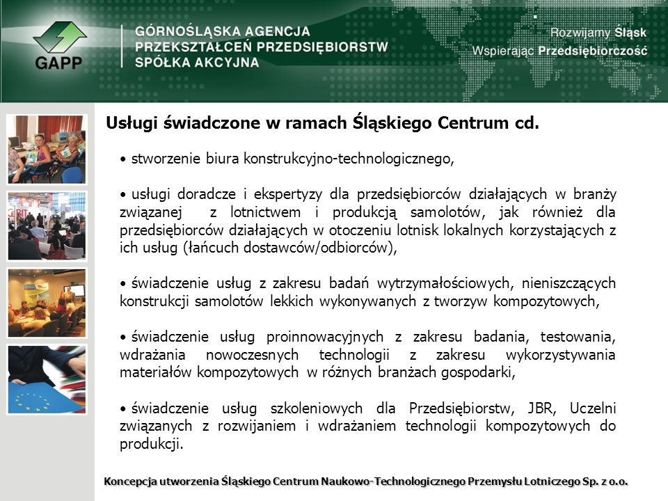 Usługi świadczone w ramach Śląskiego Centrum cd.