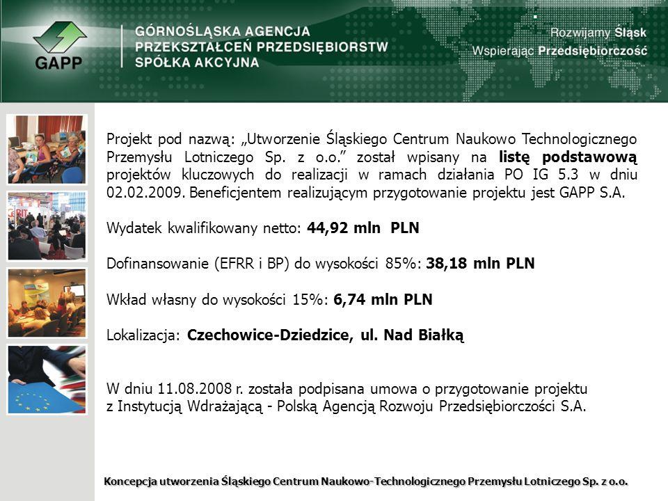"""Projekt pod nazwą: """"Utworzenie Śląskiego Centrum Naukowo Technologicznego Przemysłu Lotniczego Sp. z o.o. został wpisany na listę podstawową projektów kluczowych do realizacji w ramach działania PO IG 5.3 w dniu 02.02.2009. Beneficjentem realizującym przygotowanie projektu jest GAPP S.A."""