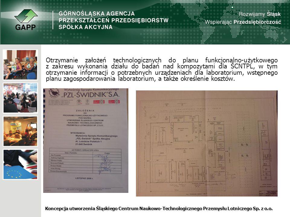 Otrzymanie założeń technologicznych do planu funkcjonalno-użytkowego z zakresu wykonania działu do badań nad kompozytami dla ŚCNTPL, w tym otrzymanie informacji o potrzebnych urządzeniach dla laboratorium, wstępnego planu zagospodarowania laboratorium, a także określenie kosztów.
