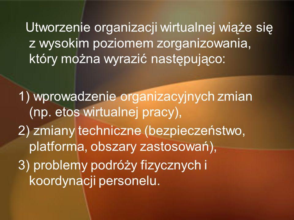 Utworzenie organizacji wirtualnej wiąże się z wysokim poziomem zorganizowania, który można wyrazić następująco: