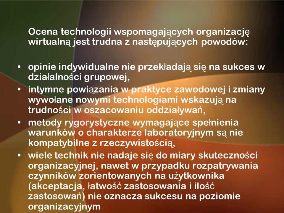 Ocena technologii wspomagających organizację wirtualną jest trudna z następujących powodów: