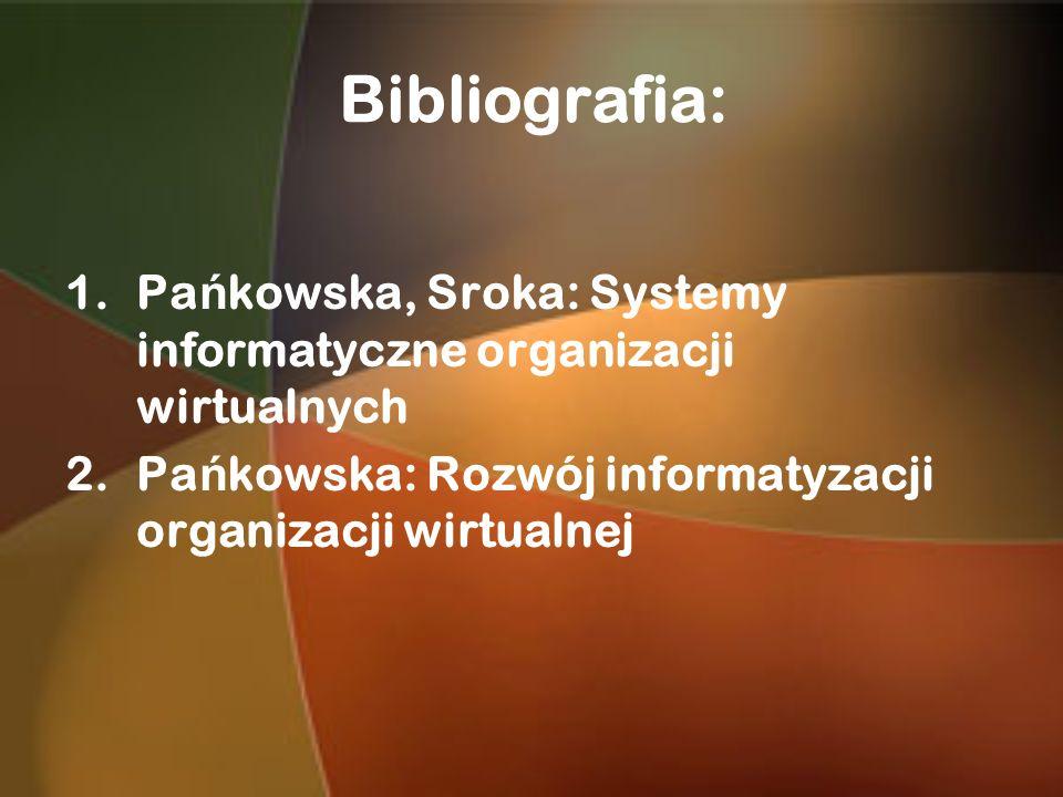 Bibliografia: Pańkowska, Sroka: Systemy informatyczne organizacji wirtualnych.