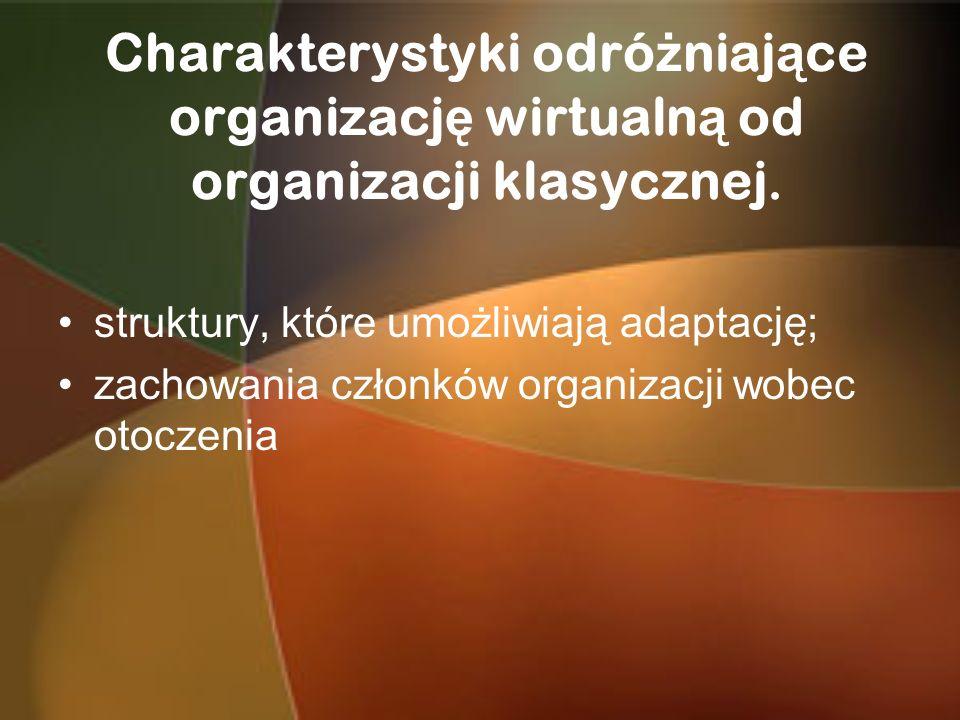 Charakterystyki odróżniające organizację wirtualną od organizacji klasycznej.