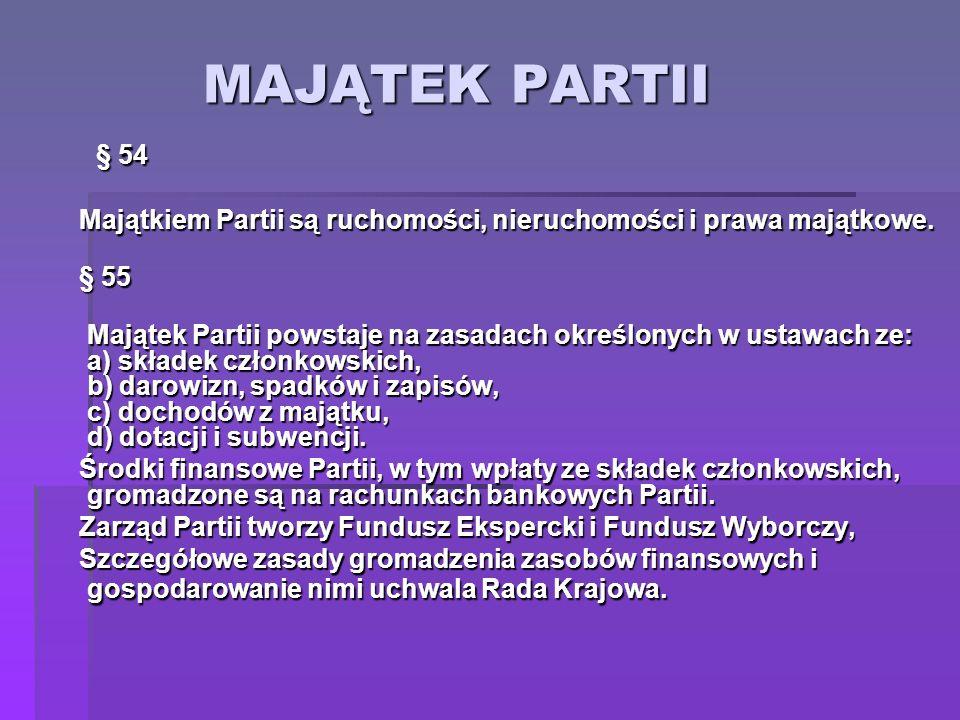 MAJĄTEK PARTII § 54. Majątkiem Partii są ruchomości, nieruchomości i prawa majątkowe. § 55.