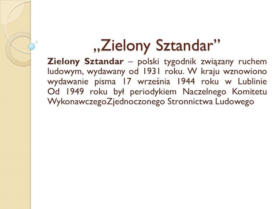 """""""Zielony Sztandar"""