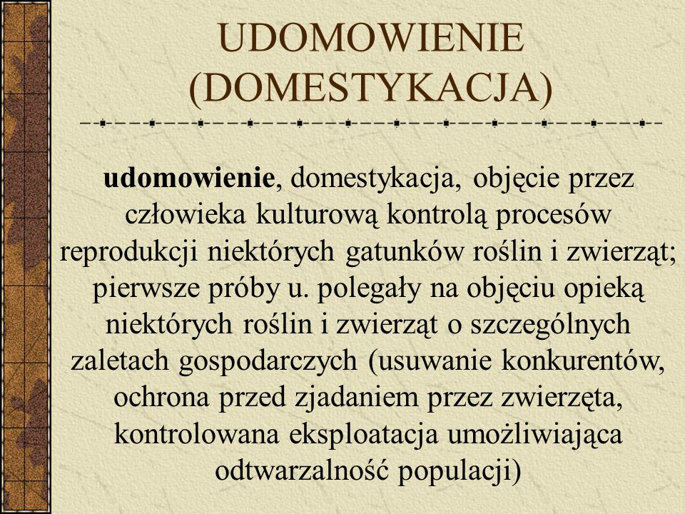 UDOMOWIENIE (DOMESTYKACJA)