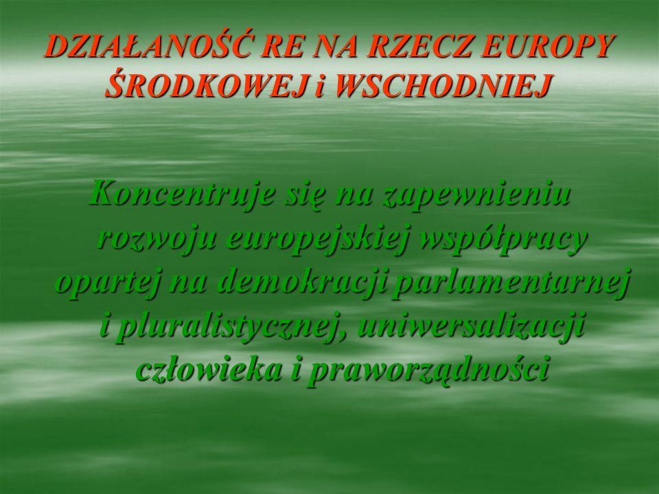 DZIAŁANOŚĆ RE NA RZECZ EUROPY ŚRODKOWEJ i WSCHODNIEJ