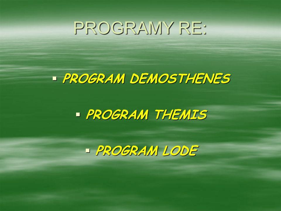 PROGRAMY RE: PROGRAM DEMOSTHENES PROGRAM THEMIS PROGRAM LODE