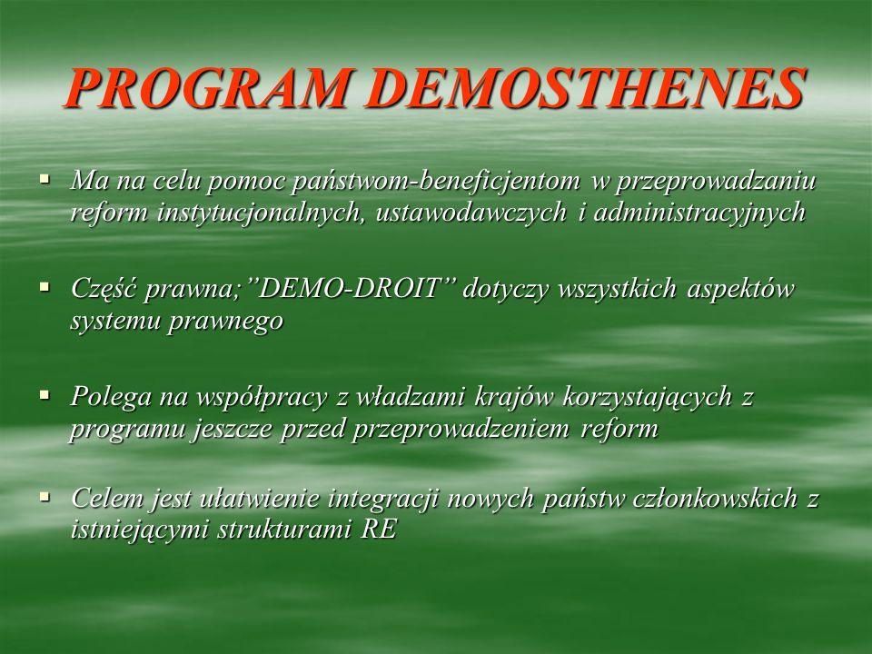 PROGRAM DEMOSTHENES Ma na celu pomoc państwom-beneficjentom w przeprowadzaniu reform instytucjonalnych, ustawodawczych i administracyjnych.