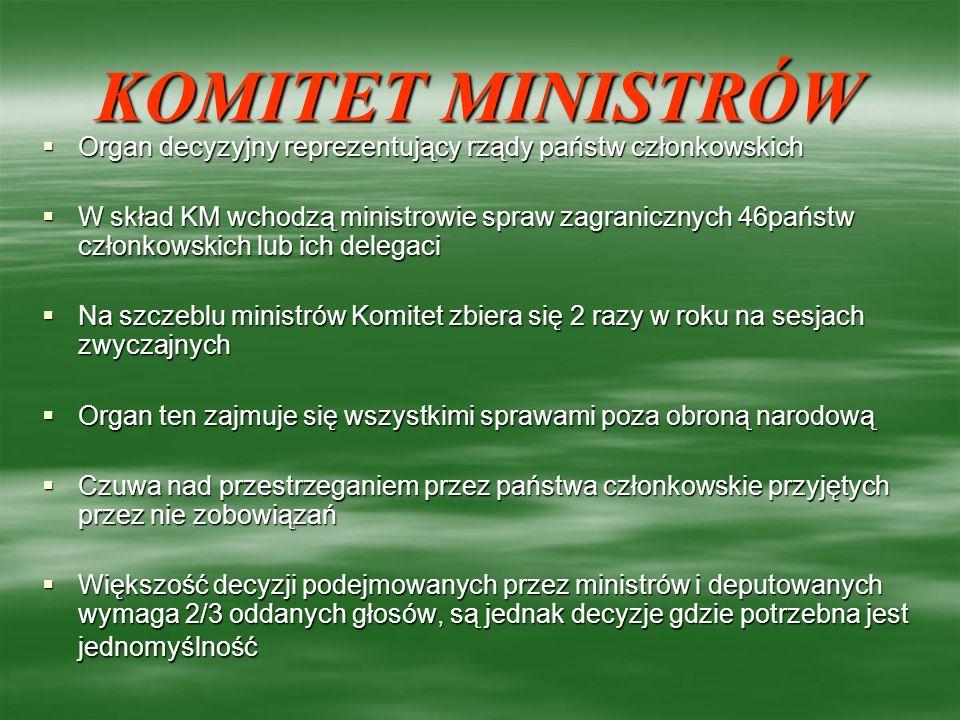 KOMITET MINISTRÓW Organ decyzyjny reprezentujący rządy państw członkowskich.