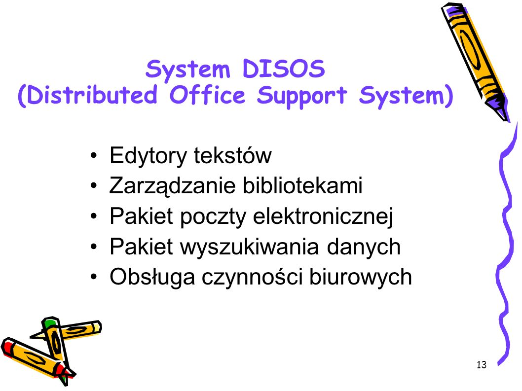 System DISOS (Distributed Office Support System)‏