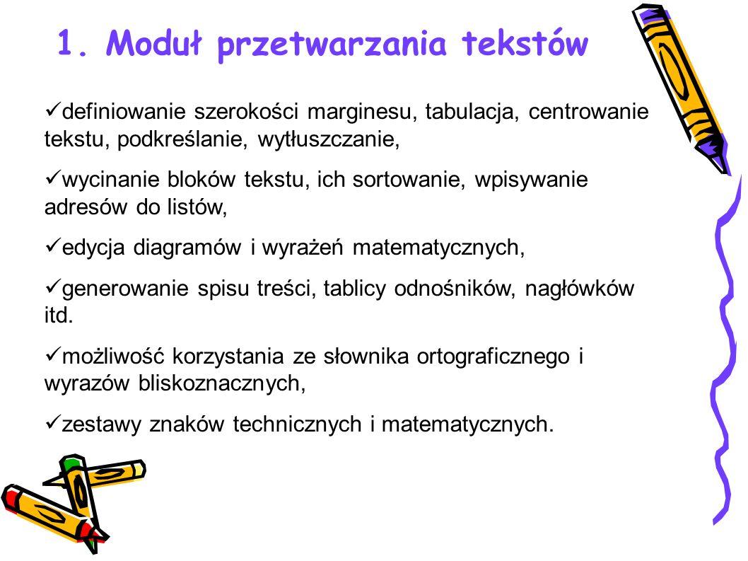 1. Moduł przetwarzania tekstów