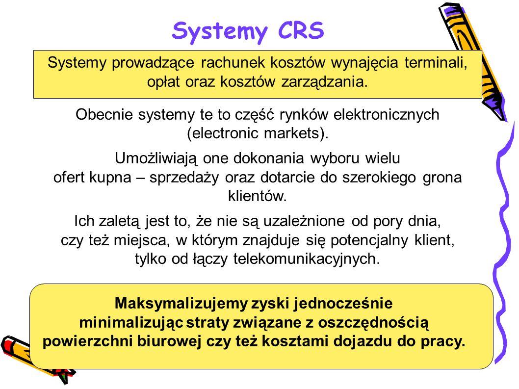 Systemy CRS Systemy prowadzące rachunek kosztów wynajęcia terminali,