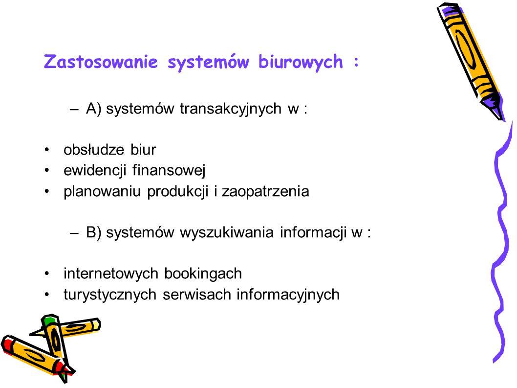 Zastosowanie systemów biurowych :