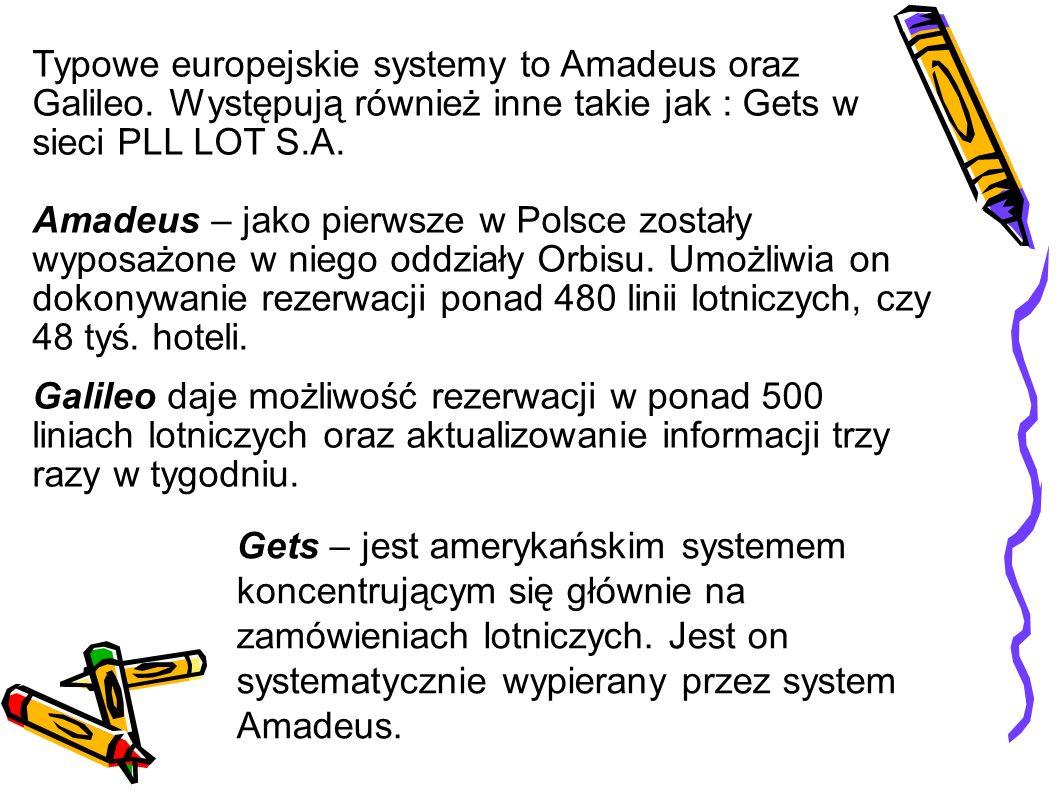 Typowe europejskie systemy to Amadeus oraz Galileo